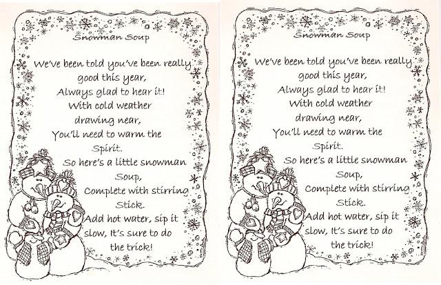 6 Images of Snowman Soup Poem Printable