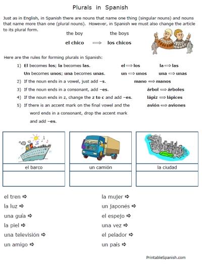 8 Best Images of Free Printable Spanish Grammar Worksheets - Free ...