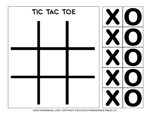 5 Images of Tic Tac Toe Game Printable