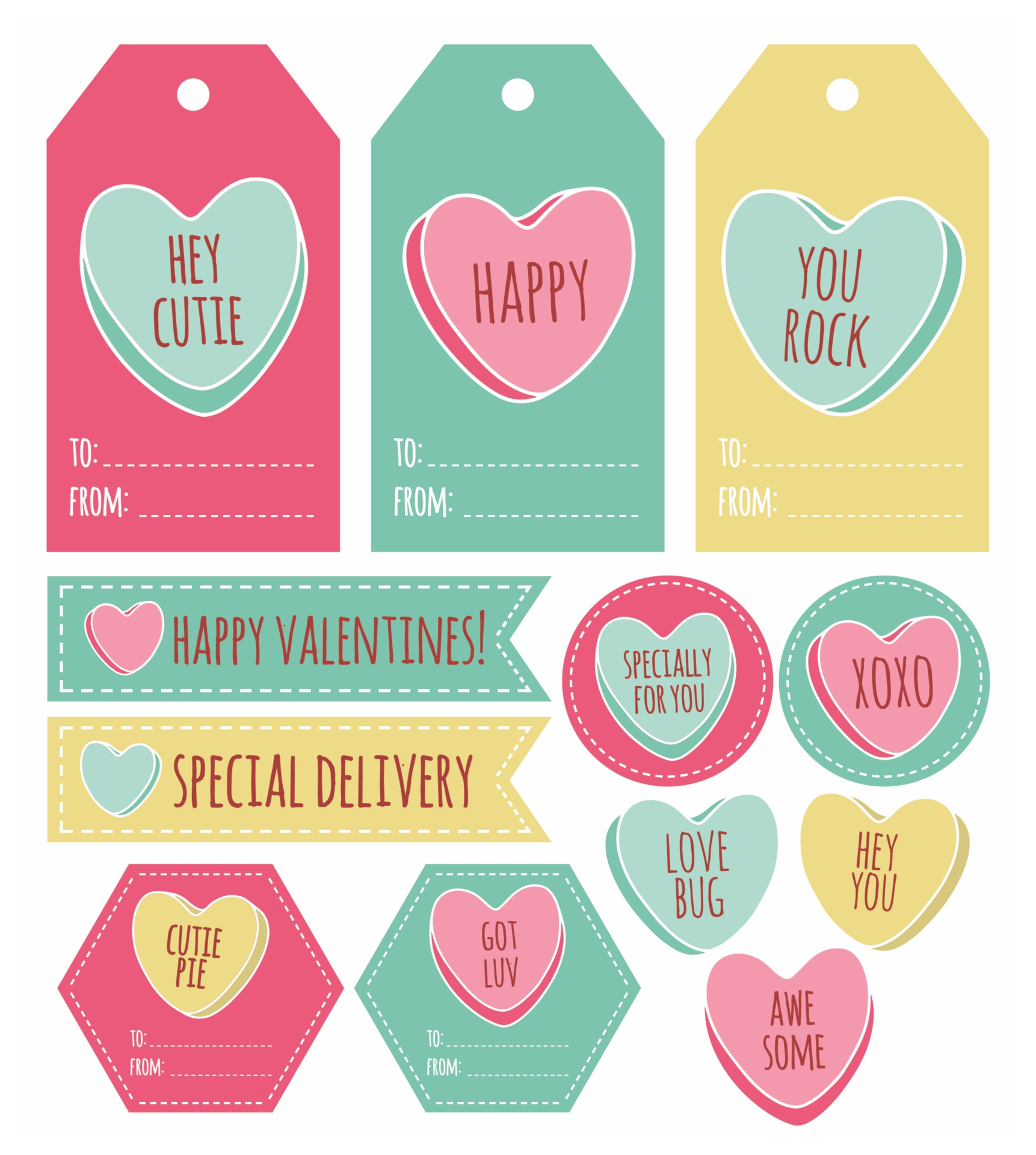 4 Images of Free Printable Gift Tags Valentine's Day
