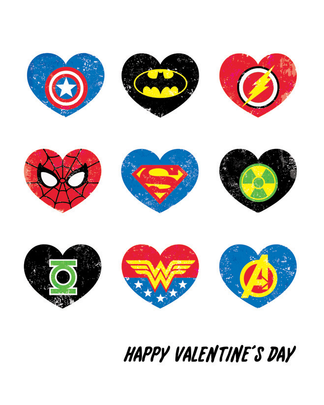 6 Images of Super Hero Valentine's Printables
