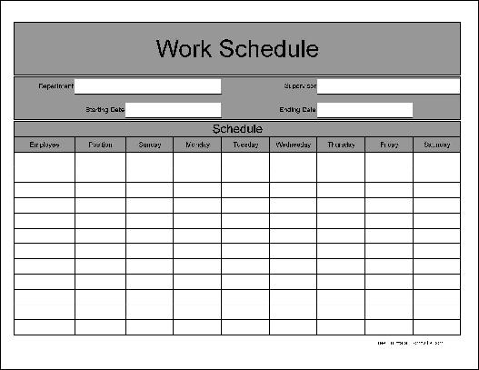 6 Images of Free Printable Work Schedule C