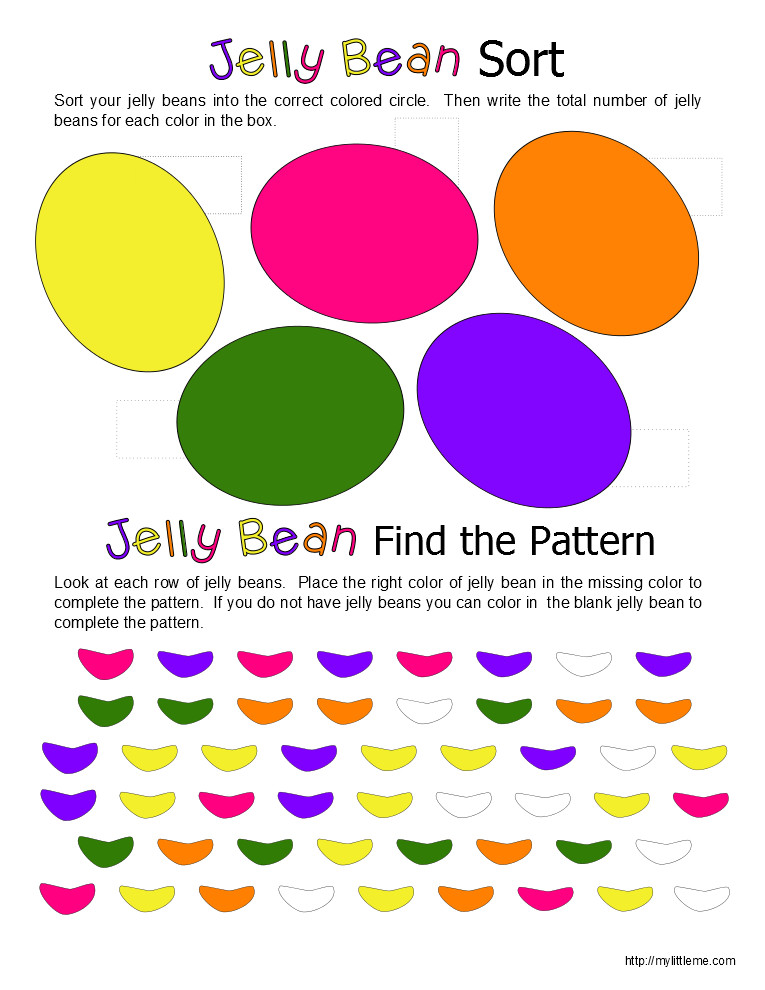 4 Images of Jelly Bean Sorting Printable