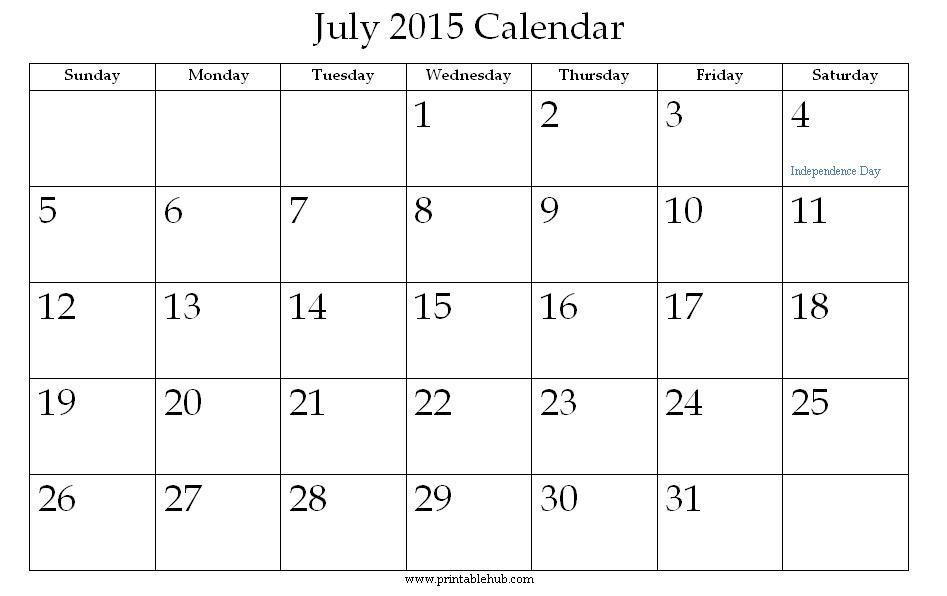 July Calendar To Print – Calendars 2017