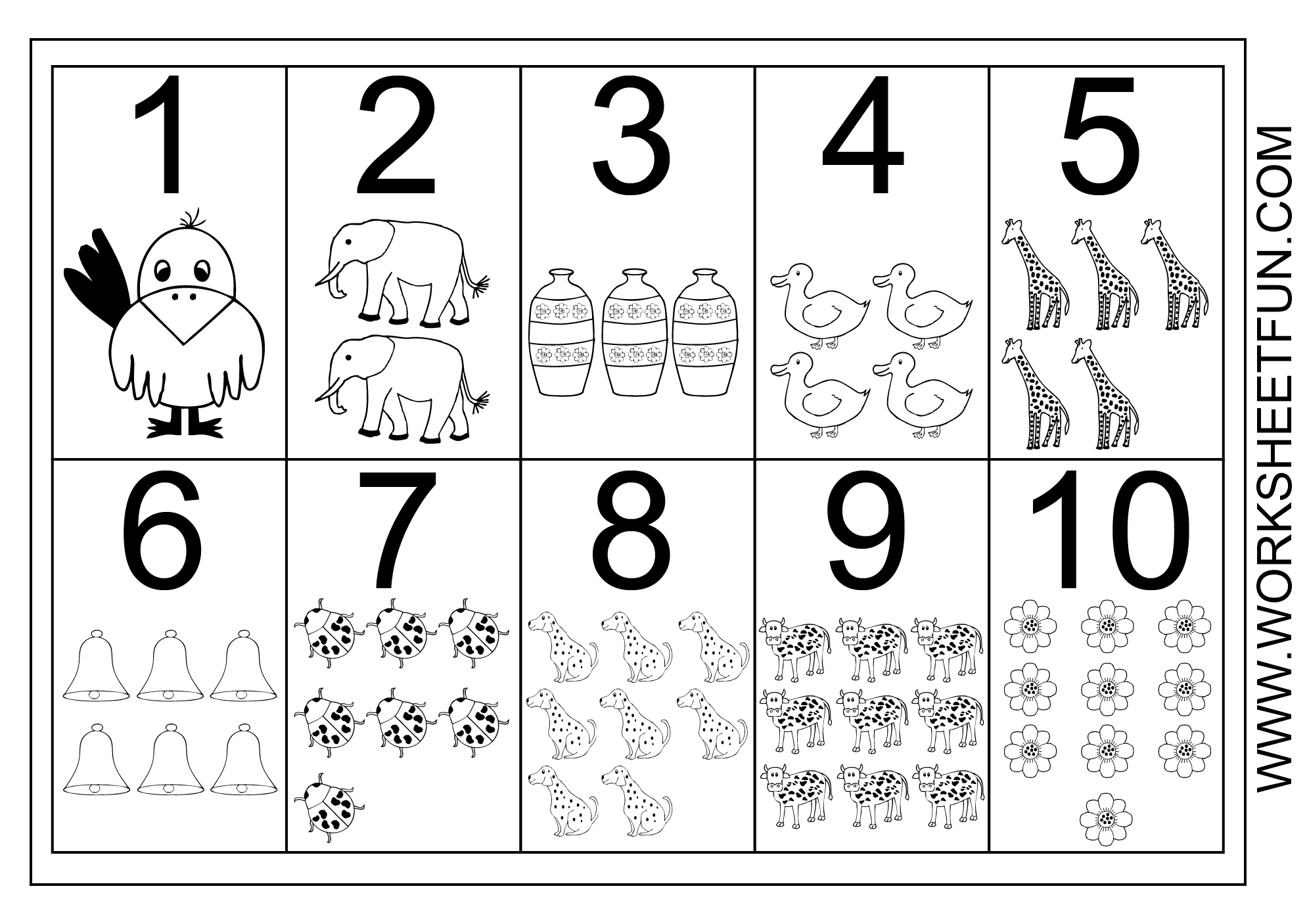 Free Printable Number Worksheets 1 10 | Worksheet