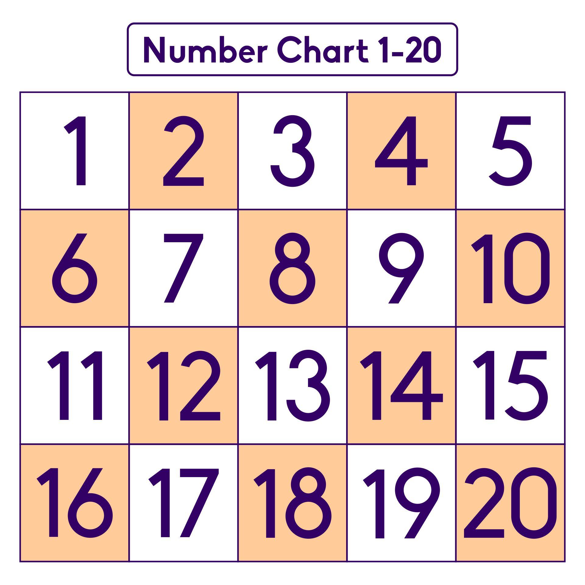 Number Chart 1 20 Printable