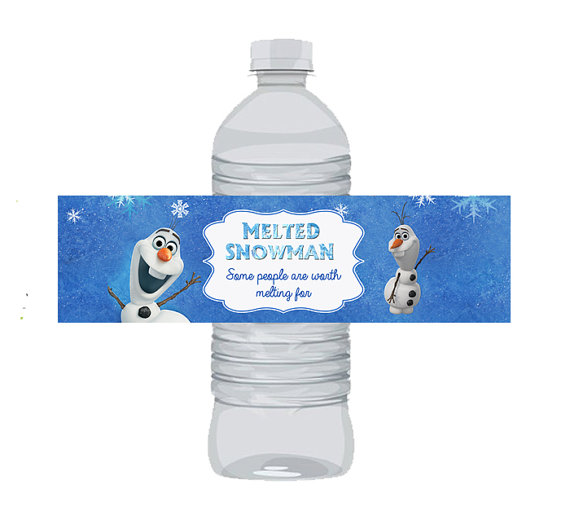 7 Images of Melted Olaf Water Bottle Label Printable
