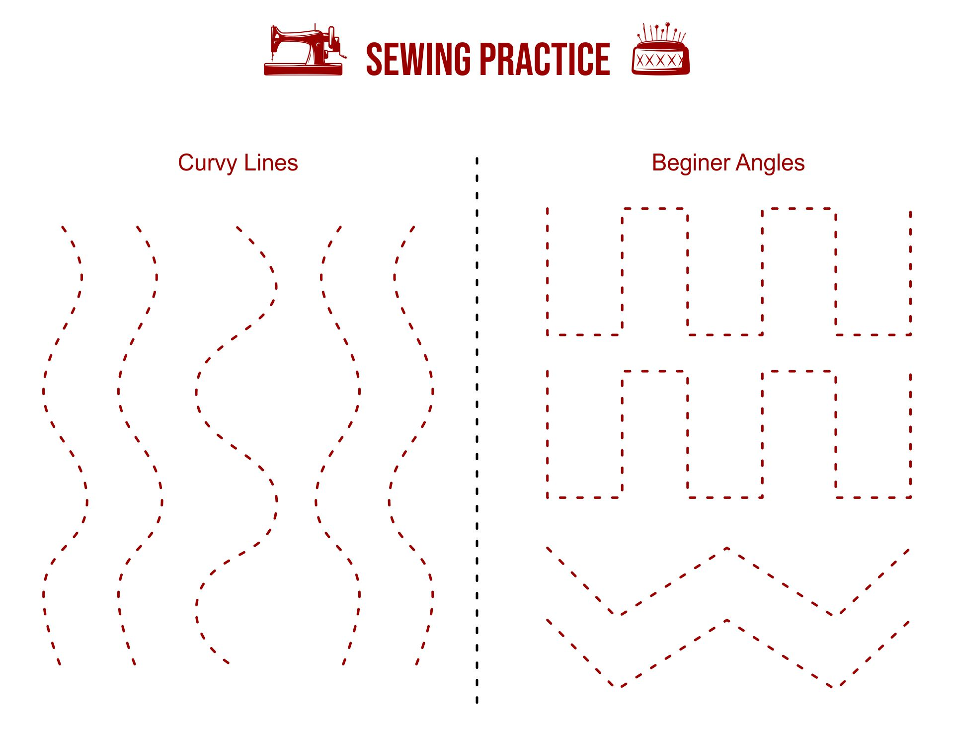 Paper Sewing Practice Sheets Printable
