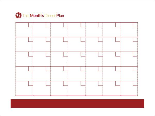 Printable Monthly Menu Planner Template