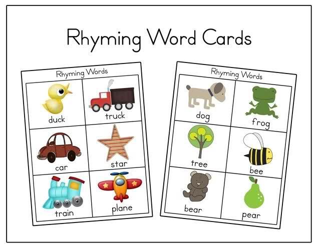 6 Images of Rhyming Memory Game Printable