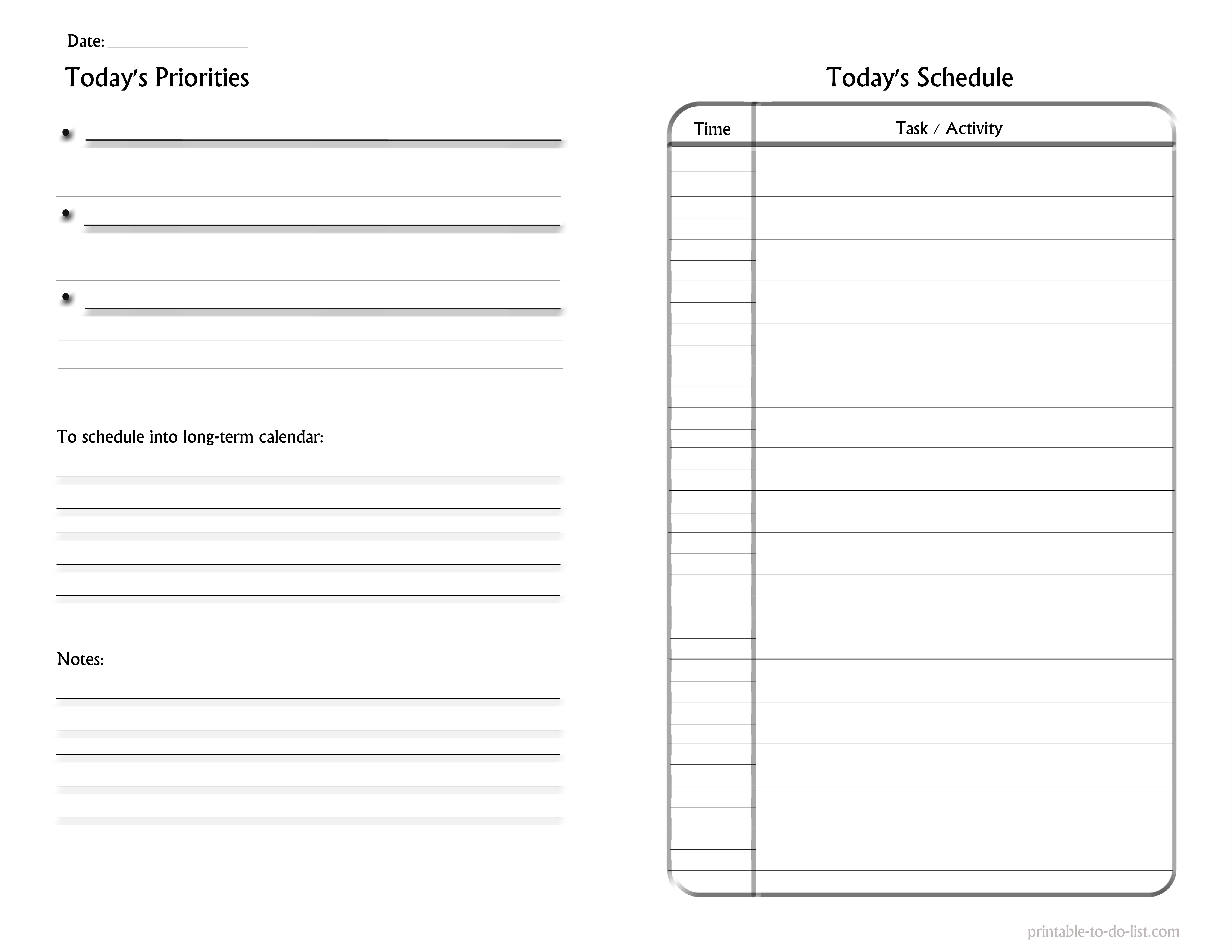 to do list format – Daily to Do Template