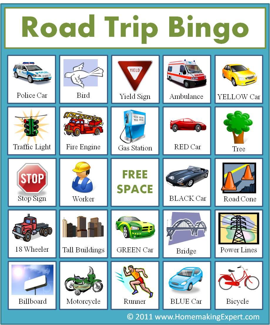 5 Images of Road Trip Bingo Printable Game