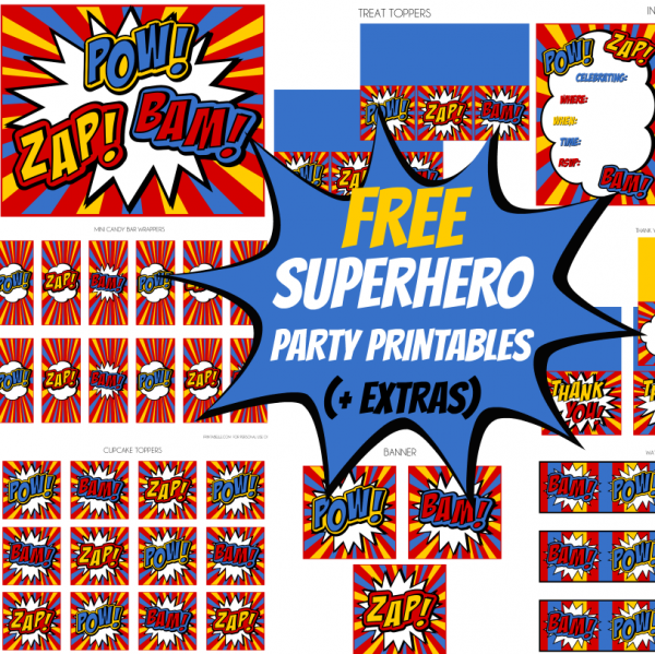 7 Images of Superhero Party Free Printables