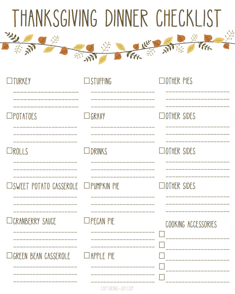 5 Images of Thanksgiving Checklist Printables