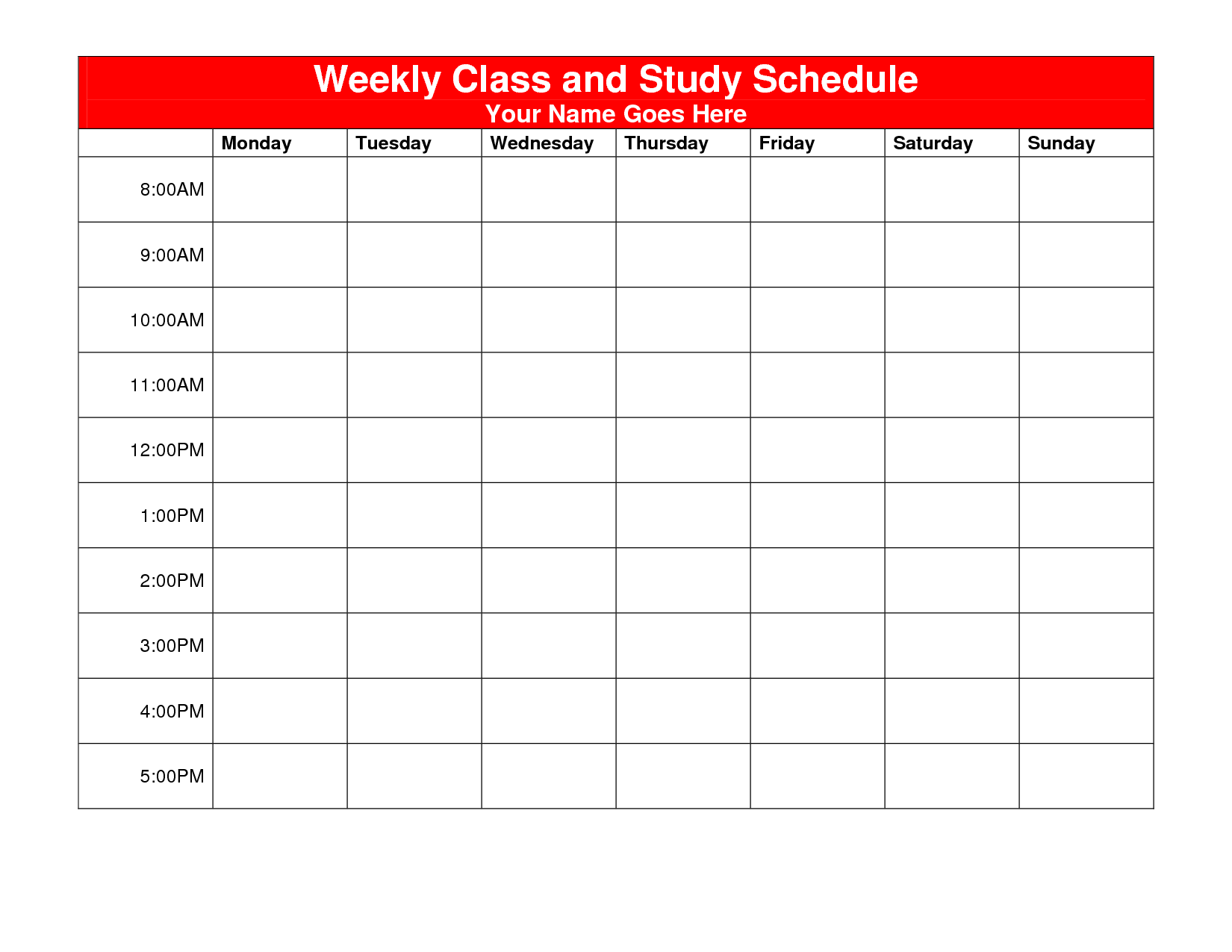 6 Images of Printable Weekly Study Schedule