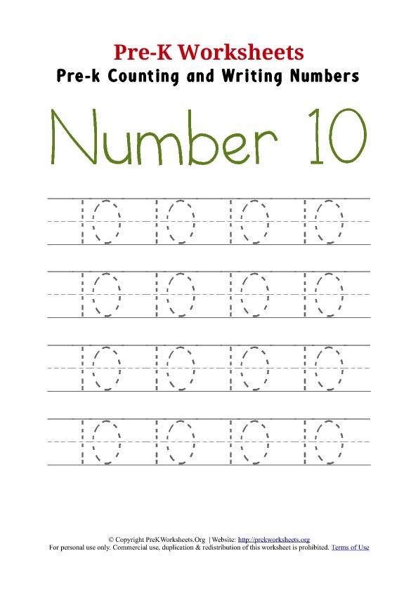 math worksheet : 6 best images of printable number 10 worksheet  writing number 10  : Writing Numbers Worksheet For Kindergarten