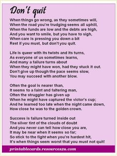 You Dont Quit Poem