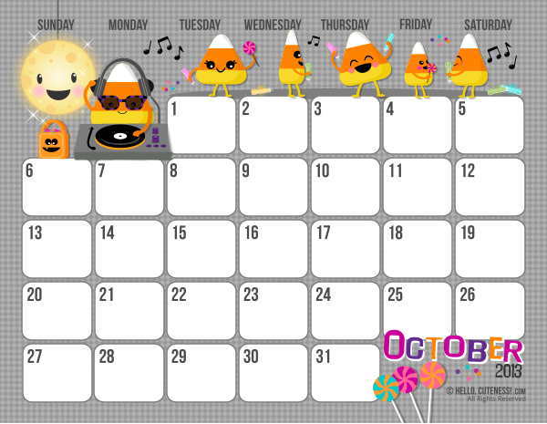 Halloween October 2013 Calendar Printable Images & Pictures - Becuo