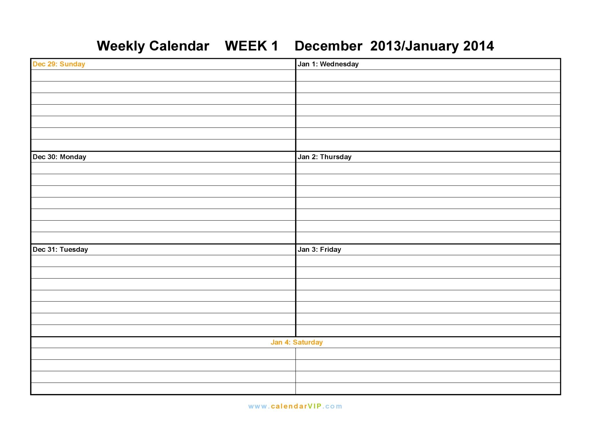 9 best images of free weekly printable calendar 2014 printable weekly calendar template 2014