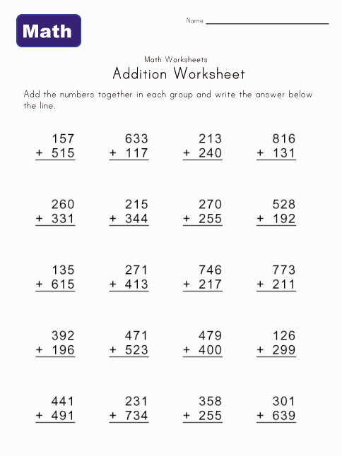 Number Names Worksheets free worksheets for 2nd grade math : 2nd Grade Math Worksheets Printable Addition - Intrepidpath