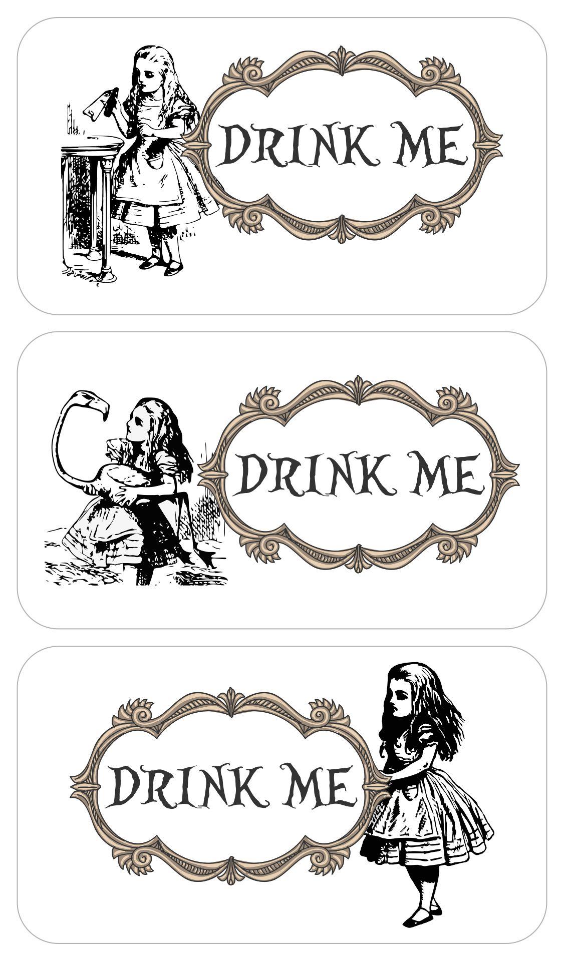 Alice in Wonderland Drink Me Tags Printable