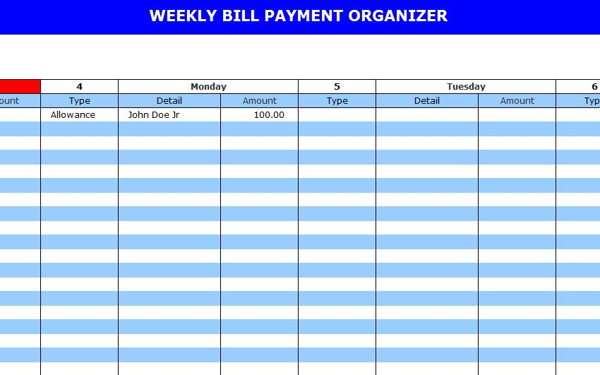 Bill Payment Calendar Template, Monthly Bill Payment Schedule Template ...