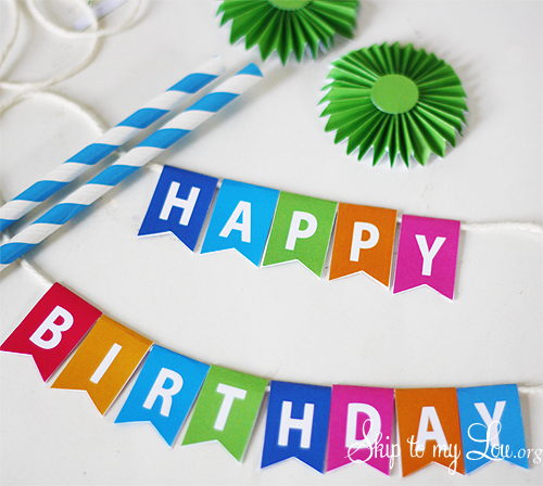 4 Images of Happy Birthday Cake Bunting Printable