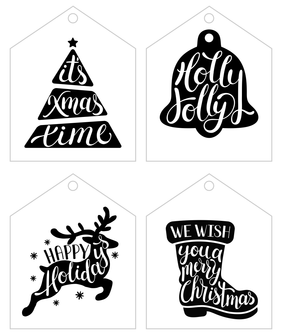Black and White Printable Christmas Gift Tags