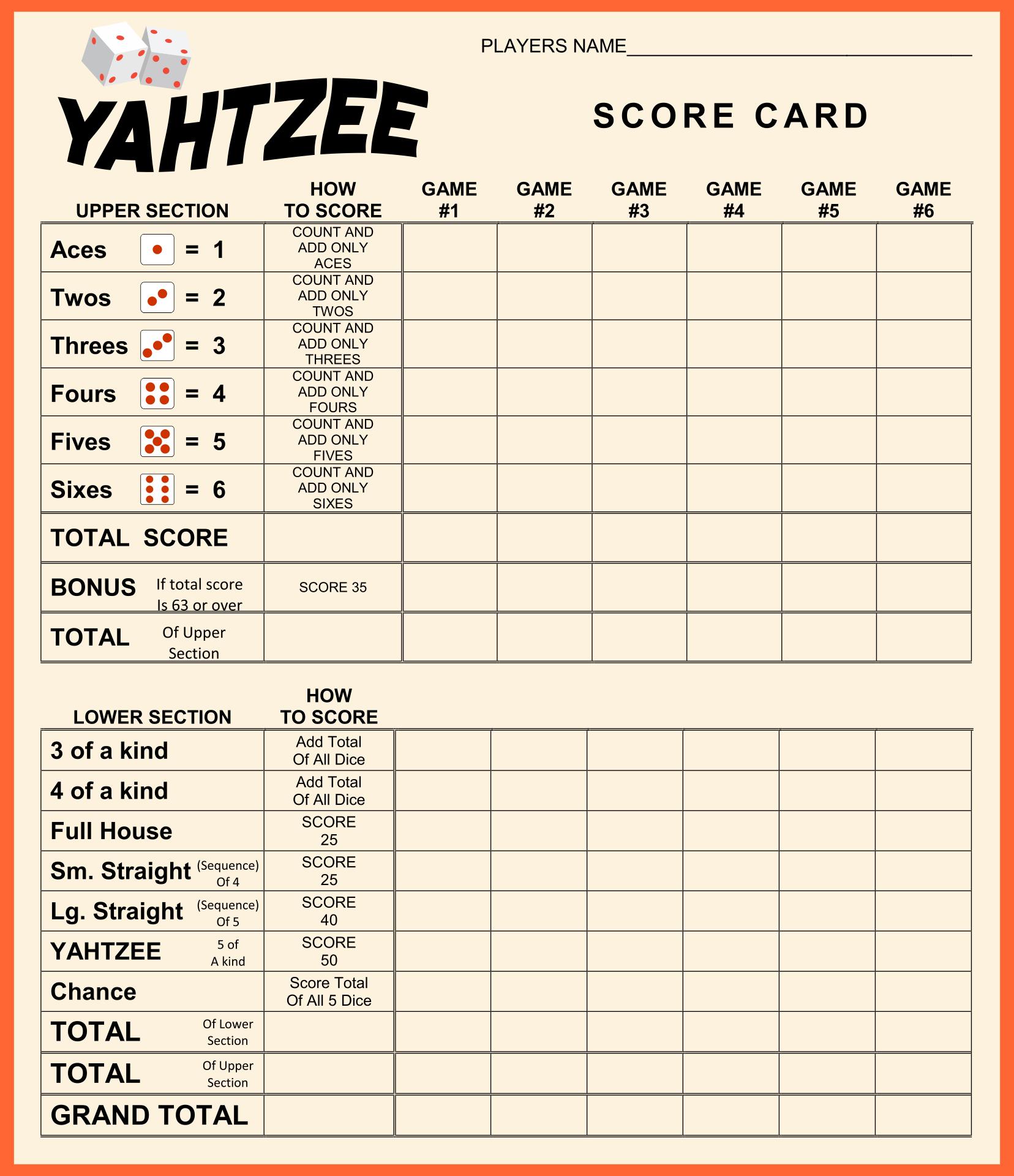 Card Yahtzee Score Sheet