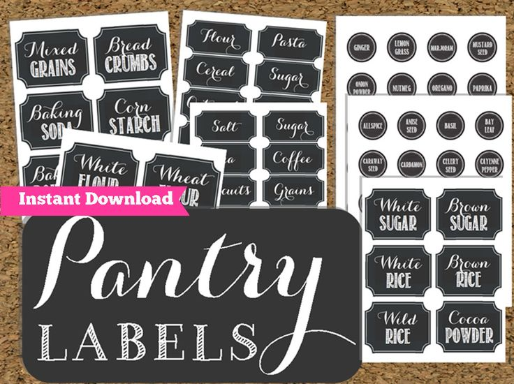 7 Images of Free Printable Chalkboard Pantry Labels