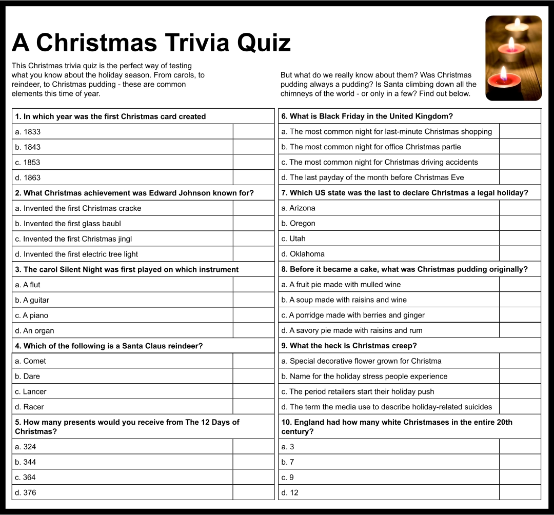 Christmas Trivia Questions for Adults