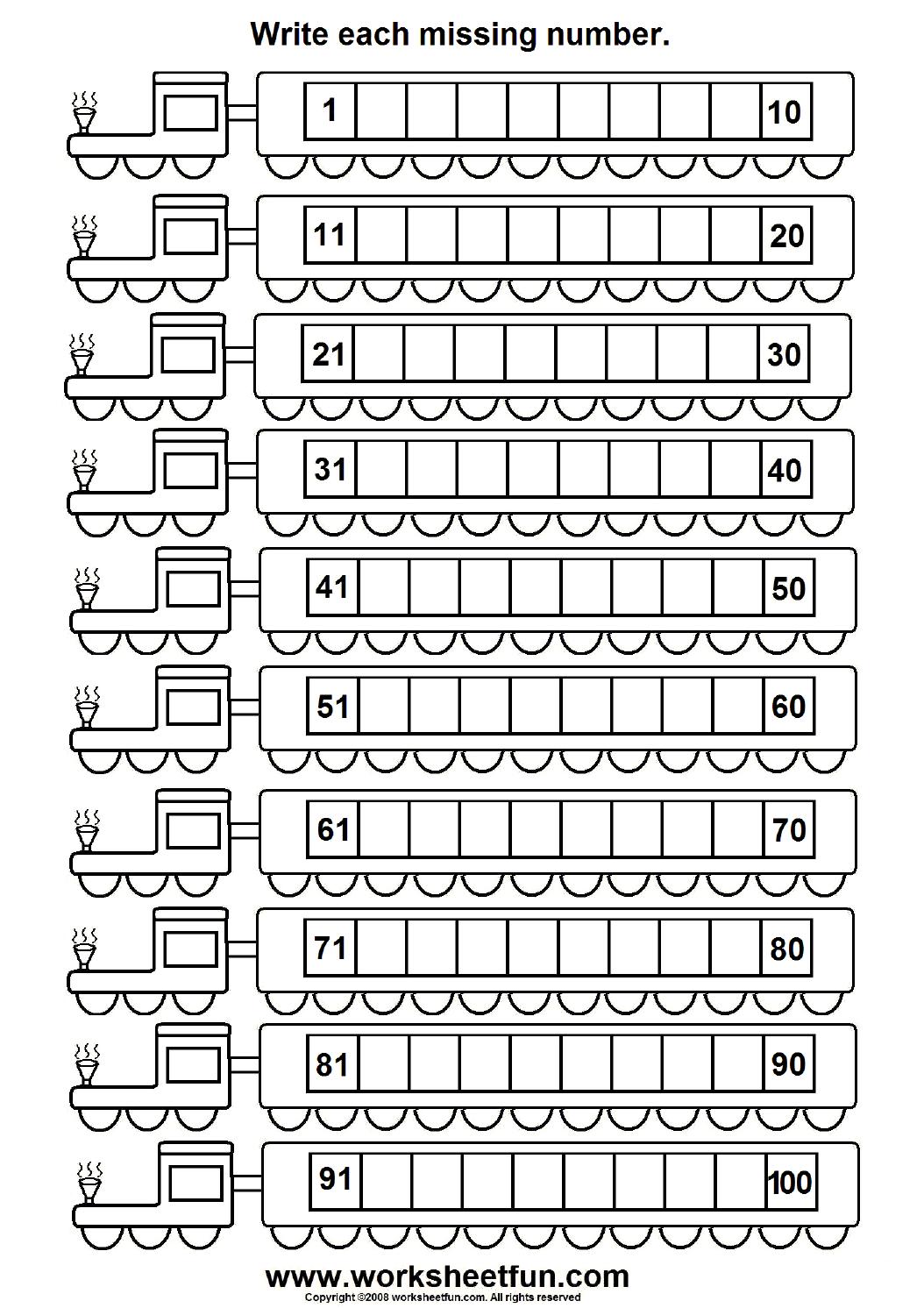 6 Best Images of Printable Number Worksheets 1 100 ...