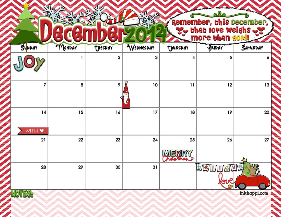 9 Images of Christmas December 2014 Calendar Printable