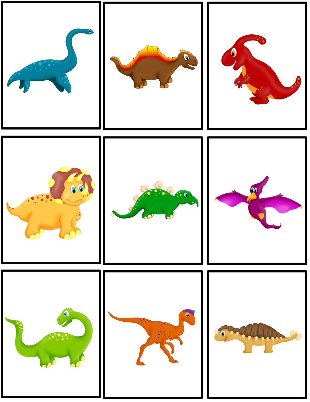 4 Images of Dino Printable Concentration Game