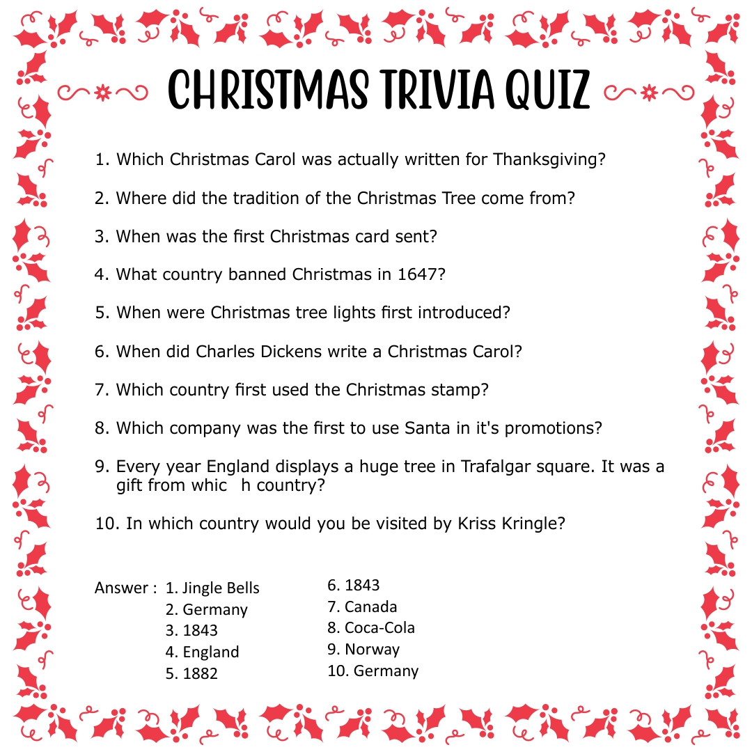 Christmas games trivia and answers christmas trivia questions