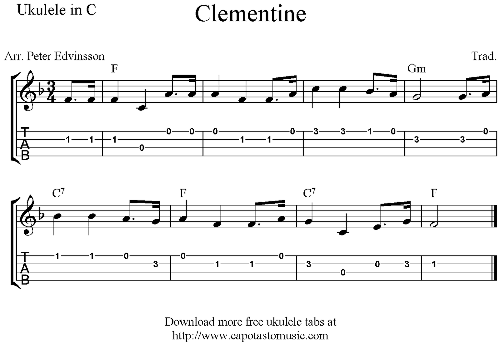 Easy Ukulele Sheet Music