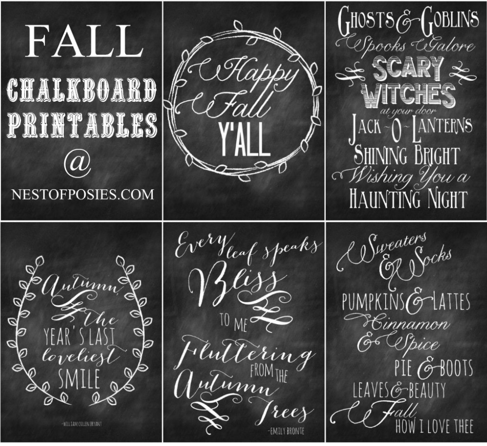 7 Images of Autumn Chalkboard Printable