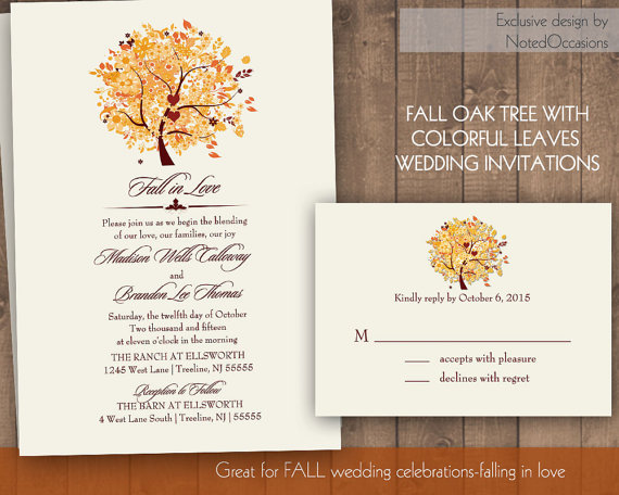 Fall Oak Tree Wedding Invitation