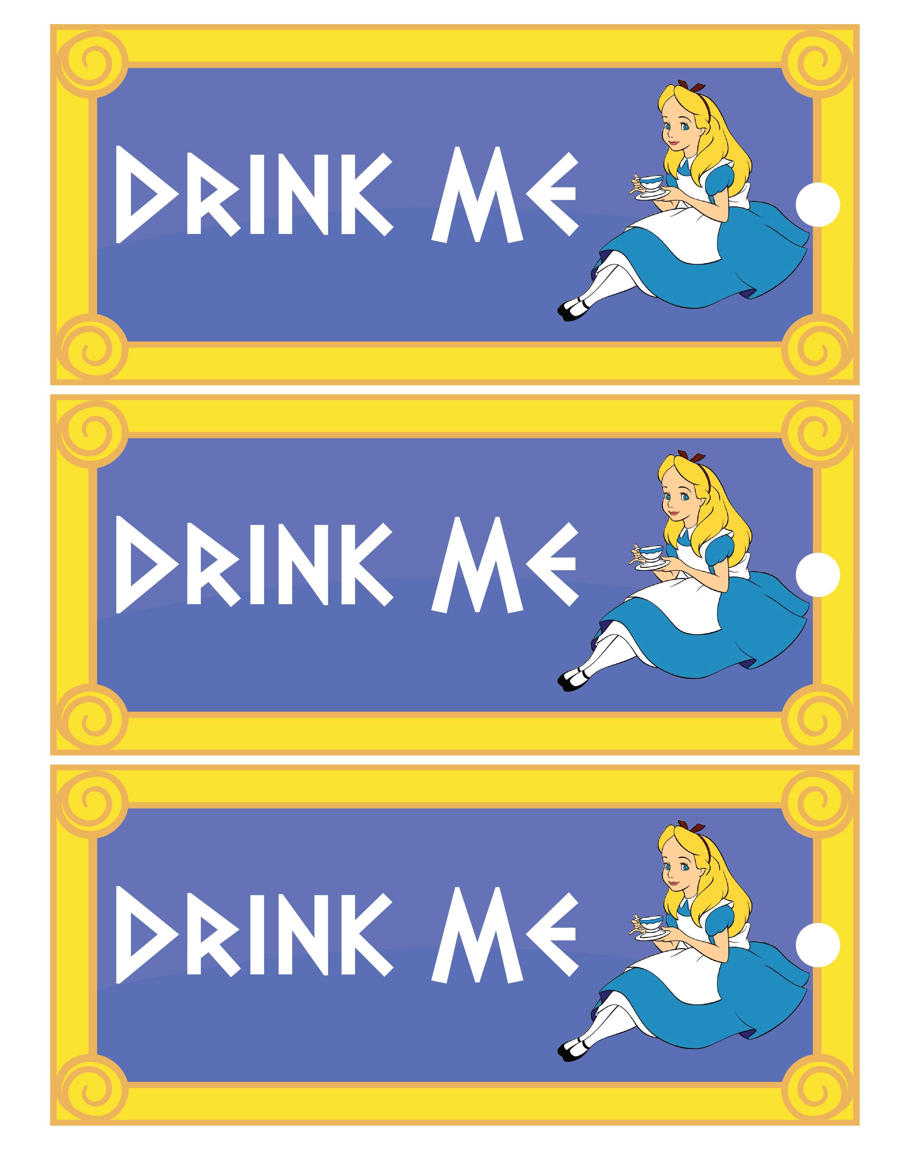 Printable Alice in Wonderland Drink Me Tag