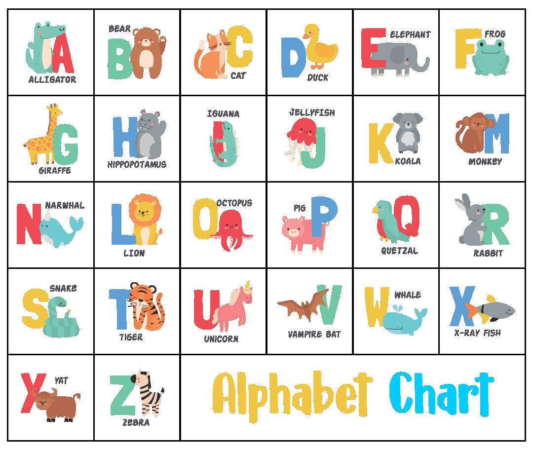 10 Best Free Kindergarten Alphabet Chart Printable Printablee Com