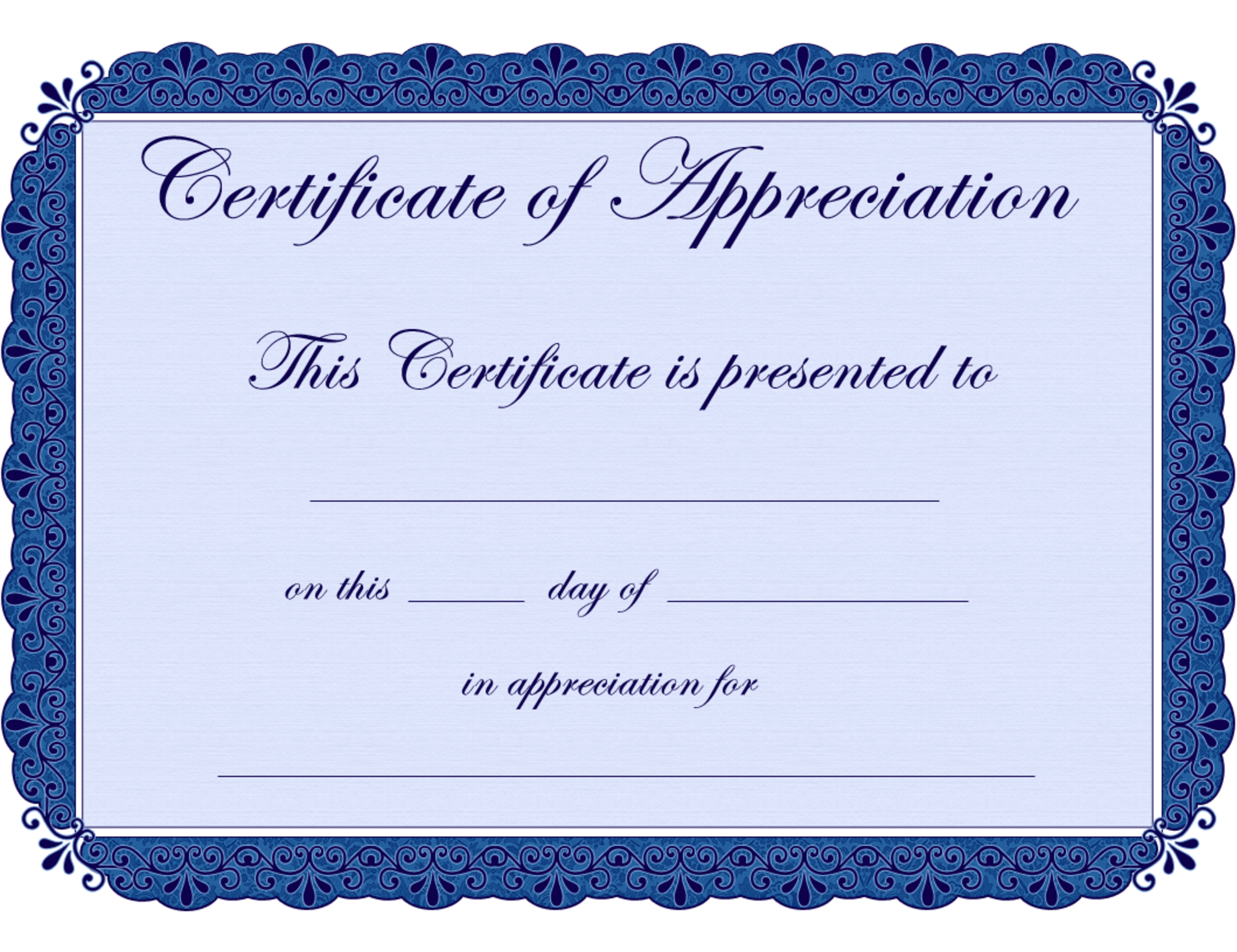 7 Images of Free Printable Certificate Of Appreciation