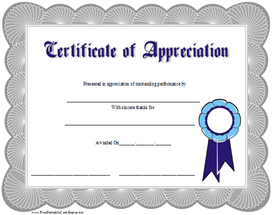 7 Best Images Of Free Printable Certificate Of Appreciation - Free