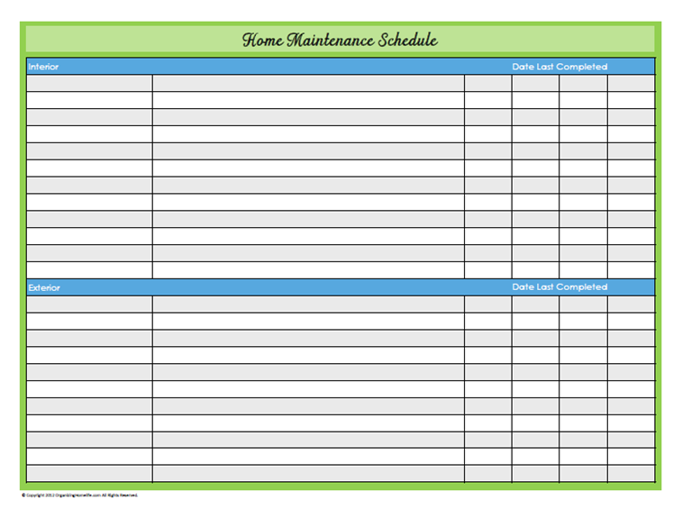 5 Best Images of Free Printable Blank Cleaning Schedule ...