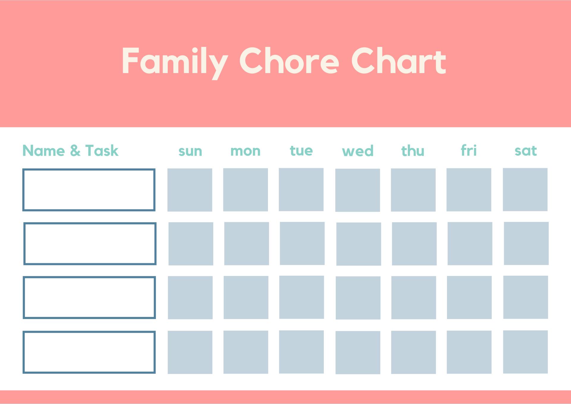 Printable Chore Charts Family