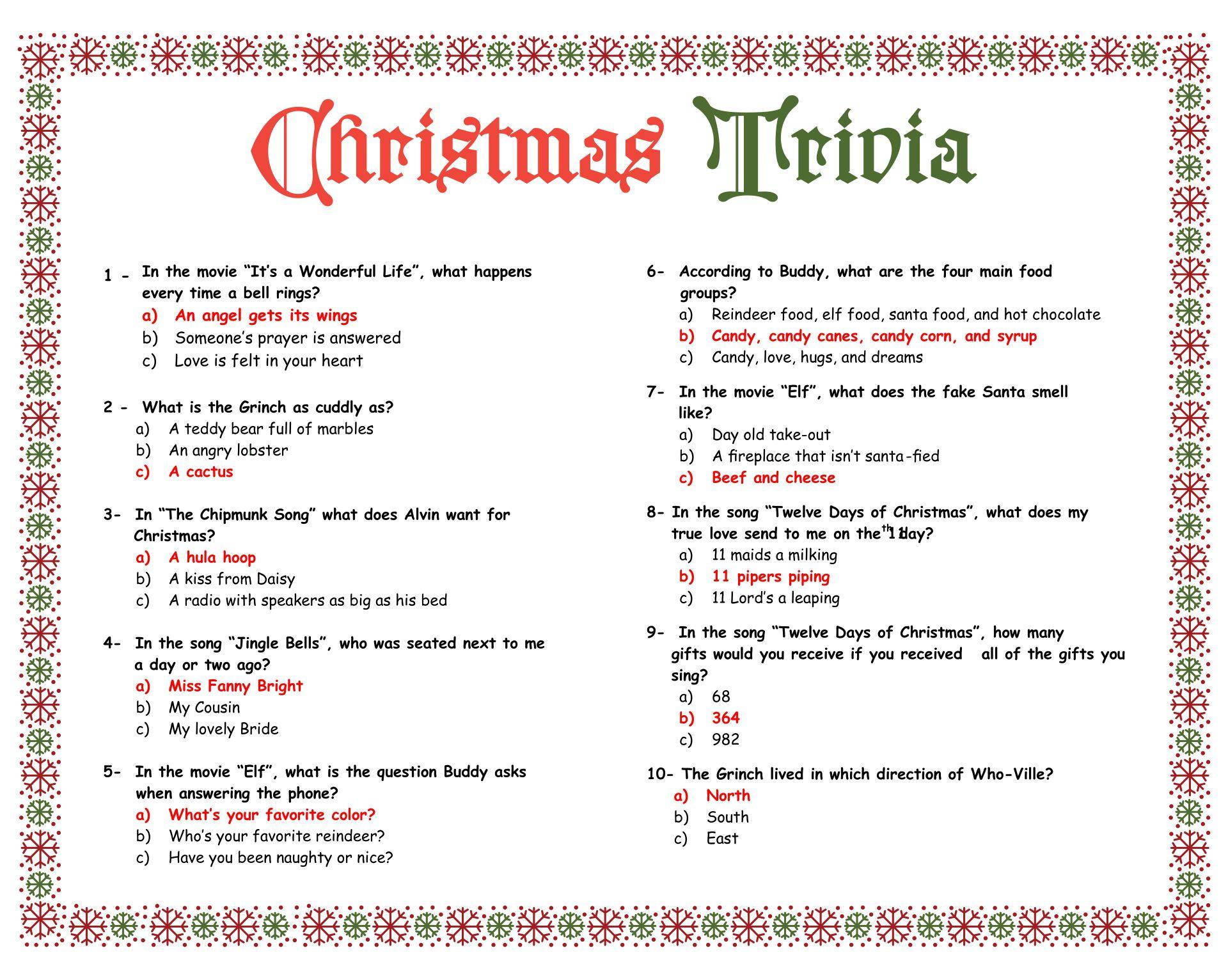 6 Images of Easy Christmas Trivia Printable