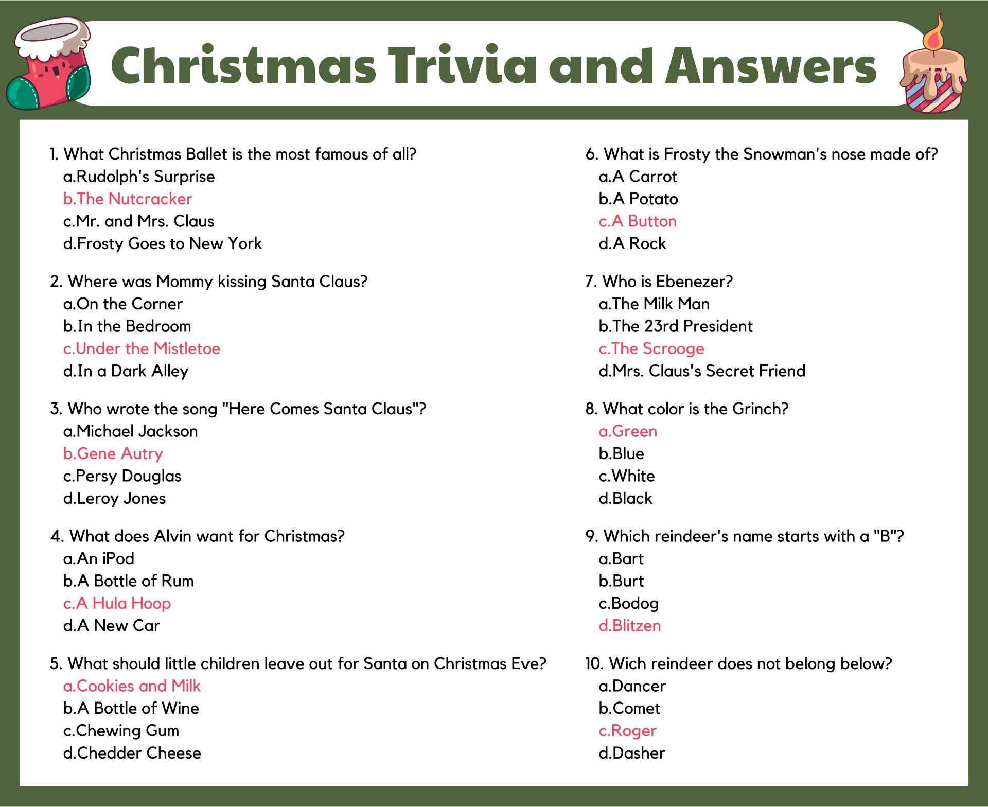 Printable Christmas Games Trivia and Answers