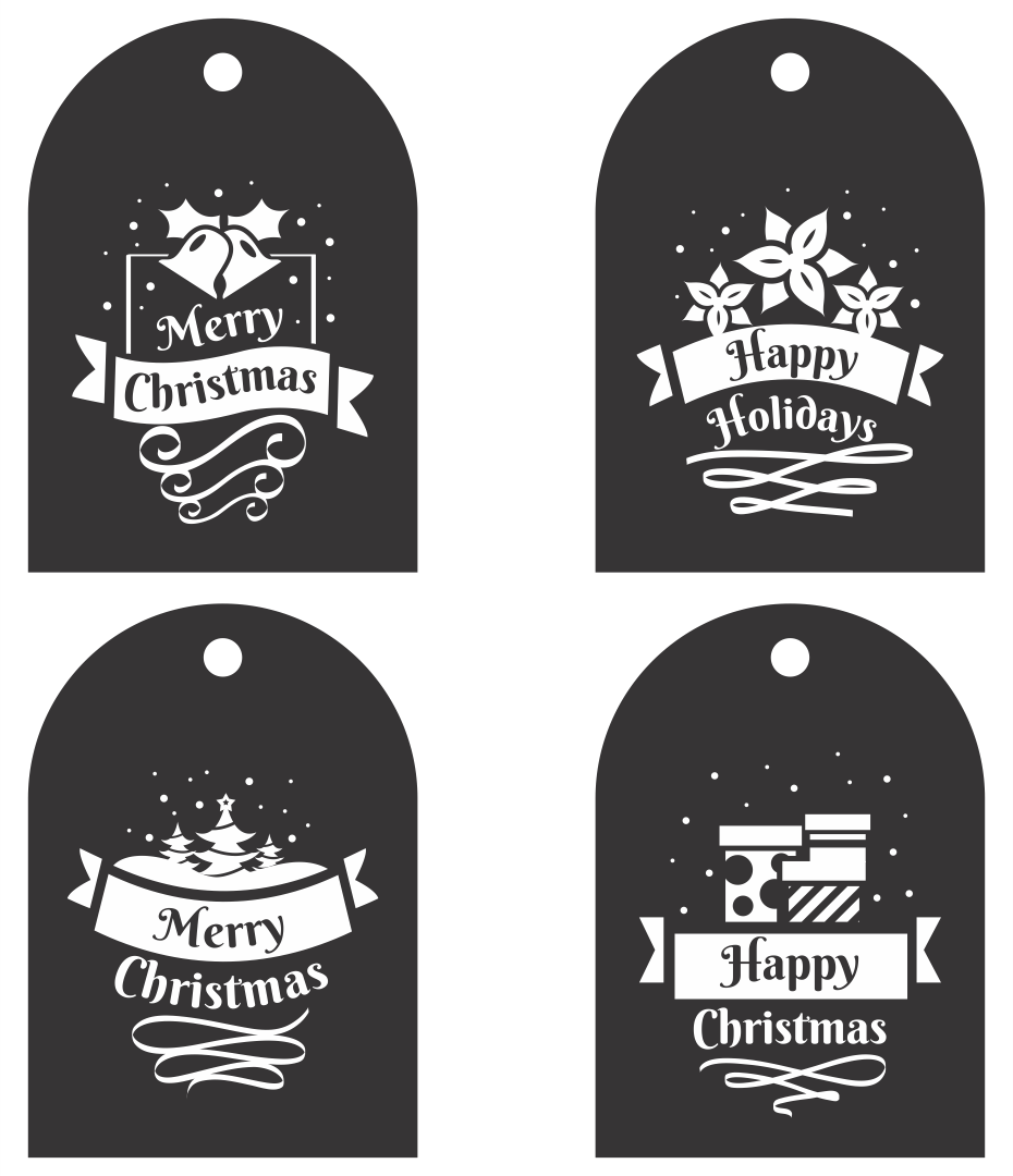 Free Printable Christmas Tags Black and White
