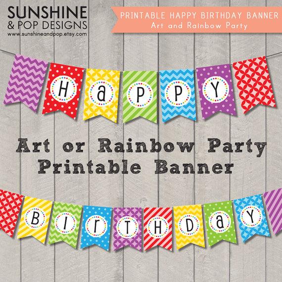 Free Printable Happy Birthday Art Party Banner