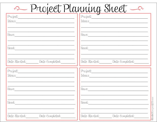 6 Images of Project Planner Free Printable Sheets