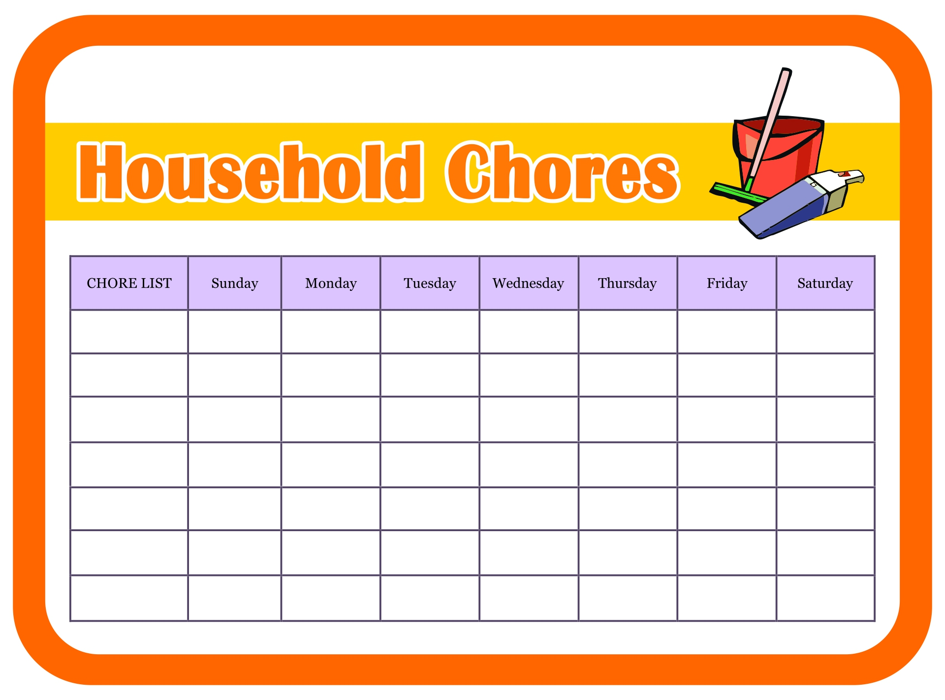 Printable Household Chore Charts